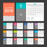 2018 Calendar. Desk Calendar modern design template. 2018 Calendar. Desk Calendar modern design template with place for photo. Week starts Sunday. Vector Royalty Free Stock Images