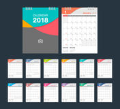 2018 Calendar. Desk Calendar modern design template. 2018 Calendar. Desk Calendar modern design template with place for photo. Week starts Sunday. Vector Stock Images