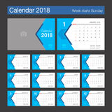 2018 Calendar. Desk Calendar modern design template. 2018 Calendar. Desk Calendar modern design template with place for photo. Week starts Sunday. Vector Royalty Free Stock Photography
