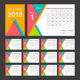 2018 Calendar. Desk Calendar modern design template. Week starts Sunday. Vector illustration Royalty Free Stock Images
