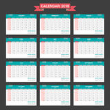 2018 Calendar. Desk Calendar modern design template. Week starts Sunday. Vector illustration Stock Photo