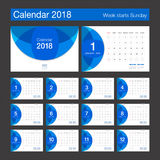2018 Calendar. Desk Calendar modern design template. Week starts Royalty Free Stock Images