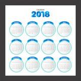 2018 Calendar. Desk Calendar modern design template. Week starts Royalty Free Stock Photos