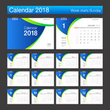 2018 Calendar. Desk Calendar modern design template. Week starts. Sunday. Vector illustration Royalty Free Stock Photo