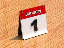 Calendar on desk - January 1st Stock Photo
