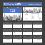 2018 Calendar. Desk Calendar modern design template with place f. Or photo. Week starts Sunday. A5 or A4 paper size. Vector illustration Royalty Free Stock Photo