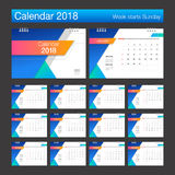 2018 Calendar. Desk Calendar modern design template. Week starts. Sunday. Vector illustration Royalty Free Stock Images