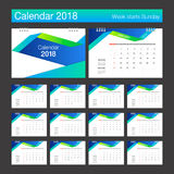 2018 Calendar. Desk Calendar modern design template. Week starts. Sunday. Vector illustration Royalty Free Stock Image