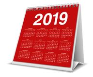 Calendar Desktop 2019 in red color royalty free stock photography