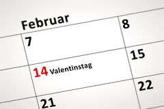 Calendar detail. An image of a calendar detail shows february the 14th Valentines Day in german language Stock Image