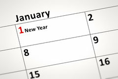 Calendar detail. An image of a calendar detail shows January the first New Year Stock Photos