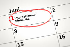 Calendar detail. An image of a calendar detail shows June the 1st international Childrens Day in german language Stock Image