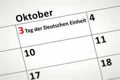 Calendar detail. An image of a calendar detail shows october the 3rd Day of German Unity in german language Stock Images