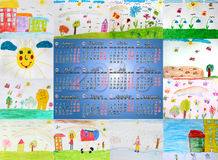 Calendar for 2016 with different children's drawings Stock Photos