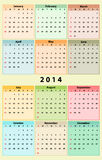 Calendar for 2014. Calendar with different pastel colors stock illustration