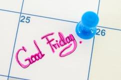 Calendar displaying Good Friday. Stock Image