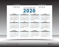 Calendar 2020 a disposição do molde, fundo azul, inseto do folheto do negócio, imprensa, propaganda, projeto simples ilustração do vetor