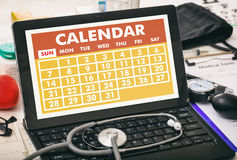 Calendar on a doctor`s computer screen Royalty Free Stock Photography