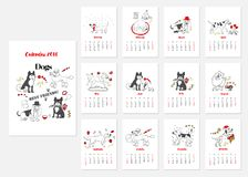 Calendar Dogs Sketches. Calendar 2018 Dogs Sketches black and white. Hand drawn  animals vector illustration Royalty Free Stock Photos