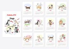 Calendar Dogs Sketches. Calendar 2018 Dogs Sketches. Hand drawn  animals vector illustration Royalty Free Stock Photography