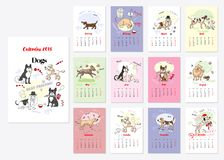 Calendar Dogs Sketches. Calendar 2018 Dogs Sketches. Hand drawn  animals vector illustration Royalty Free Stock Image