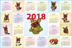 Calendar 2018. dogs in various guises. Vector image Stock Photo