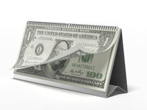 Calendar with dollar bills Royalty Free Stock Image