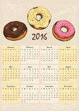Calendar for 2016 with donut Royalty Free Stock Photography