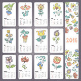 Calendar 2016 with Doodles flowers,Monthly cards. Calendar 2016 new year.Doodles flowers in pastel colors.Hand drawing decor elements.Vintage Monthly cards.Retro Stock Illustration