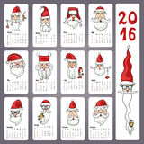 Calendar 2016. Doodles Santa faces,Monthly cards Royalty Free Stock Photography