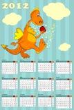 Calendar with dragon - symbol 2012. Calendar with cartoon dragon - symbol 2012 vector illustration