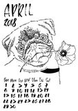 Calendar with dry brush lettering. April 2018. Dog with spring poppy flower. Cute pug portrait. Vector illustration. Calendar with dry brush lettering. April Stock Images