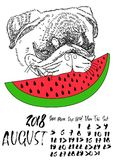 Calendar with dry brush lettering. August 2018. Dog with red watermelon. Cute pug portrait. Vector illustration. Calendar with dry brush lettering. August 2018 Stock Photography