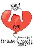 Calendar with dry brush lettering. February 2018. Dog with red balloon in the form of a heart. Cute pug portrait. Vector. Illustration Royalty Free Stock Photography
