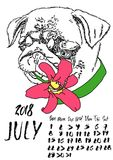 Calendar with dry brush lettering. July 2018.. Dog with summer lily flower. Cute pug portrait. Vector illustration Royalty Free Stock Photos