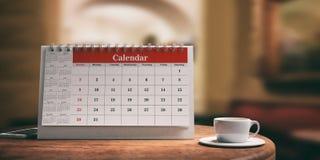 Calendar e uma xícara de café em uma tabela de madeira ilustração 3D Fotografia de Stock Royalty Free