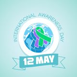 12 may International Awareness Day. Calendar for each day on may 12. Greeting card. Holiday -  International Awareness Day. Icon in the linear style Royalty Free Stock Photo