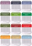 Calendar for each month. With the appropriate color for each month Royalty Free Illustration
