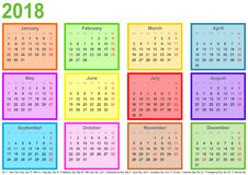 Calendar 2018 each month different colored square USA. Calendar 2018, each month in a differently colored square and markings of public holidays for the USA in a Royalty Free Stock Image