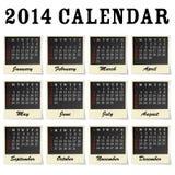 2014 calendar. Each month framed as a photo vector illustration