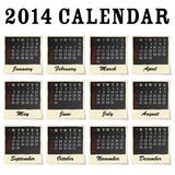 2014 calendar. Each month framed as a photo Royalty Free Stock Photos