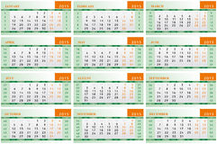 2015 calendar for each month. Vector 2015 calendar for each month royalty free illustration