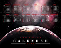 Calendar 2016 with Earth  background. Elements of this image furnished by NASA Stock Photography