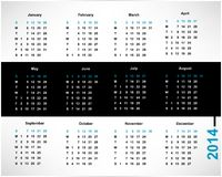 Calendar. For 2014, editable vector illustration Stock Photos
