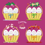 Calendar for 2017 with eggs in baskets. Bright  calendar for 2017 with four baskets of eggs, which symbolize the seasons Royalty Free Stock Image