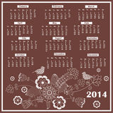 Calendar for 2014. Elegant  floral calendar for 2014 year Royalty Free Stock Images
