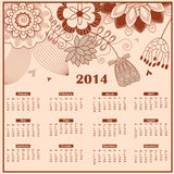 Calendar for 2014. Elegant  floral calendar for 2014 year Stock Images