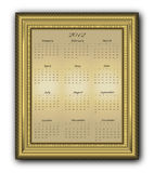 Calendar elegant Frame gold 2012 Stock Photos