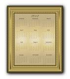 Calendar elegant Frame gold 2012 Stock Photos