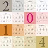 Calendar 2014. Elegant pastel calendar stock illustration